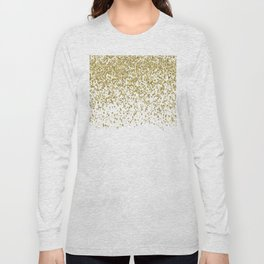 Sparkling gold glitter confetti on simple white background - Pattern Long Sleeve T-shirt