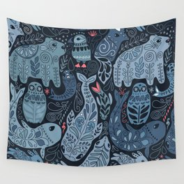 Arctic animals. Polar bear, narwhal, seal, fox, puffin, whale Wall Tapestry