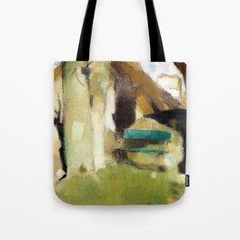 12,000pixel-500dpi - Shadow on the Wall II, Green Bench - Helene Sofia Schjerfbeck Tote Bag