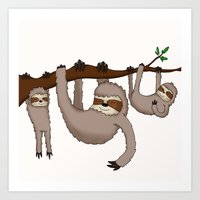 sloths Art Prints featuring Cute Illustrated Sloths  by Philly & Brit