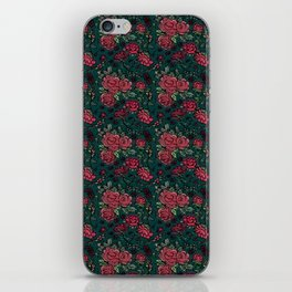 Project 413 | Cottage Rose on Dark Teal Green iPhone Skin