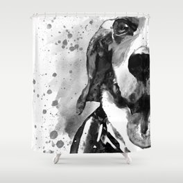 Black and White Half Faced Beagle Shower Curtain