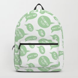 CELEBRATION PARTY TIME PALE GREEN SPEECH BUBBLES GOOD TIMES Backpack