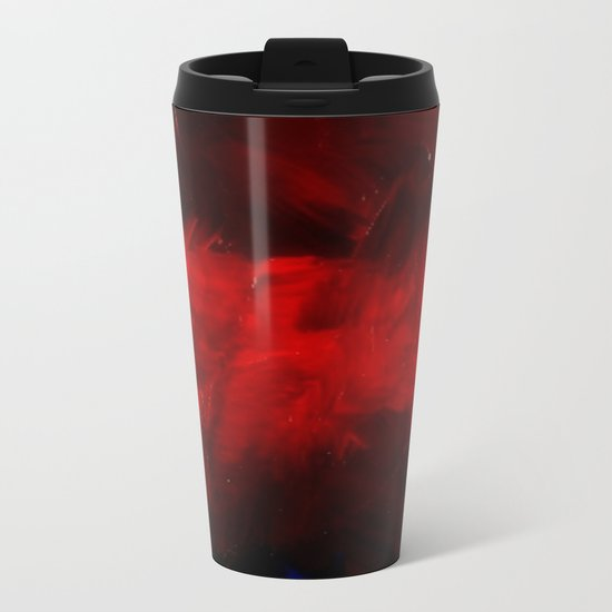 Red And Black Abstract Gothic Glam Chic Metal Travel Mug