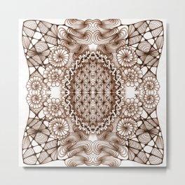 Renaissance Zentangle Tile Doodle Design Metal Print