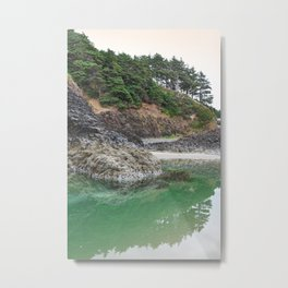 Oregon Coast Tide Pool Green Glowing Forest Coastal Cliff Rocky Landscape Beach Northwest Volcano Metal Print