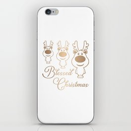 Cute Reindeers with Text Saying Blessed Christmas Gold Graphic iPhone Skin