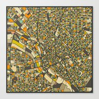 dallas Canvas Prints featuring DALLAS MAP by Jazzberry Blue