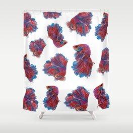 Ocean Theme- Red Blue Betta Fish Shower Curtain