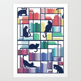 Rainbow bookshelf // white background navy blue shelf and library cats Art Print