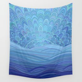 Blue Mandala Sunset at the Ocean Wall Tapestry