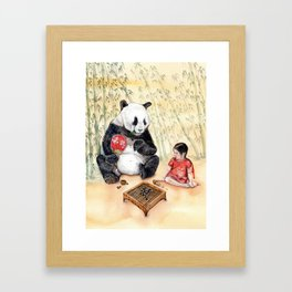 Playing Go with Panda Framed Art Print