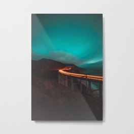 Bixby Bridge Light Trail Metal Print