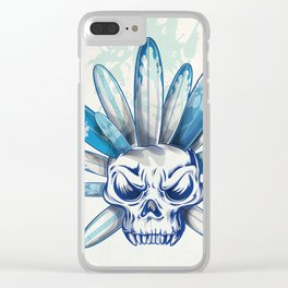 skull with surfboard Clear iPhone Case