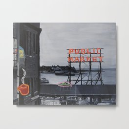 Pike Place Market - Black & White & Neon -Seattle Washginton Metal Print