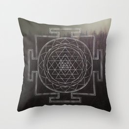 Sri Yantra Forest Throw Pillow