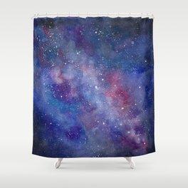 Milky Way Galaxy Watercolor Shower Curtain