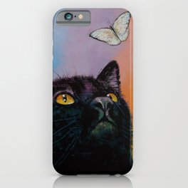 Black Cat Butterfly iPhone Case