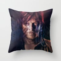daryl dixon Throw Pillows featuring Daryl Dixon by Guilherme Marconi