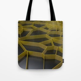 Yellow voronoi grate on black background Tote Bag