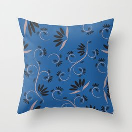 seamless floral pattern with flowers and leaves plants exotic shapes Throw Pillow