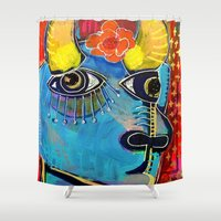spanish Shower Curtains featuring Spanish Bull by Rookery Design