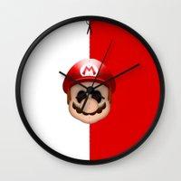 mario Wall Clocks featuring Mario by Oblivion Creative