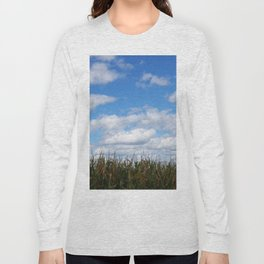 "Corn field in autumn with ""popcorn"" clouds Long Sleeve T-shirt"