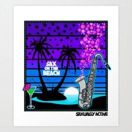 Sax On The Beach Art Print