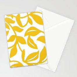 PALM LEAF VINE LEAF YELLOW PATTERN Stationery Cards