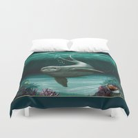 seal Duvet Covers featuring Hawaiian Monk Seal ~ Acrylic by Amber Marine