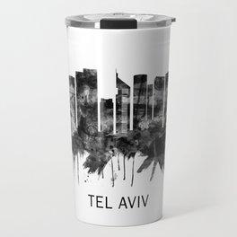 Tel Aviv Israel Skyline BW Travel Mug