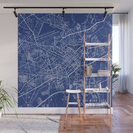 Ho Chi Minh City Map, USA - Blue Wall Mural