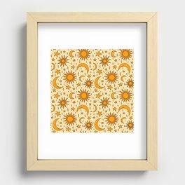 Vintage Sun and Star Print Recessed Framed Print