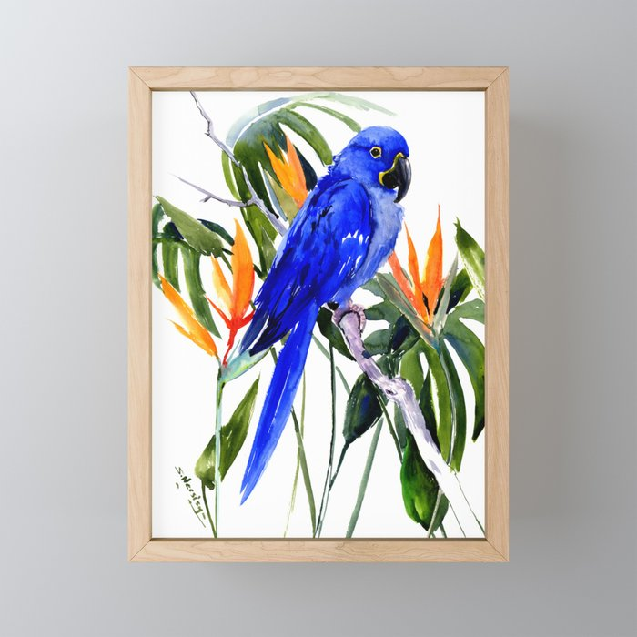Hyacinth Macaw, Tropical colors foliage, jungle paradise flowers blue orange jungle colors Framed Mini Art Print