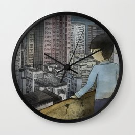 '跳下去的一秒 The Moment While Jumping off' Illustration 1 Wall Clock