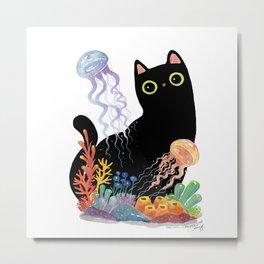 the Aquarium Cat _ Jellyfish Metal Print
