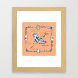 Sparrow Mahjong in Orange Framed Art Print