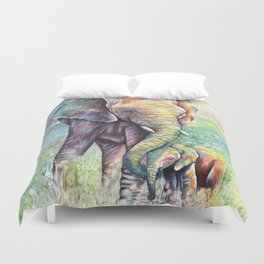 Colorful Mother Elephant and Baby Duvet Cover