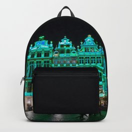 Bruxelles buildings under green lights Backpack