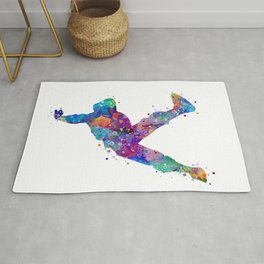 Hip-Hop Boy Colorful Watercor Dancer Gift Colorful Purple Watercolor Art Rap Music Gift RnB Music Rug