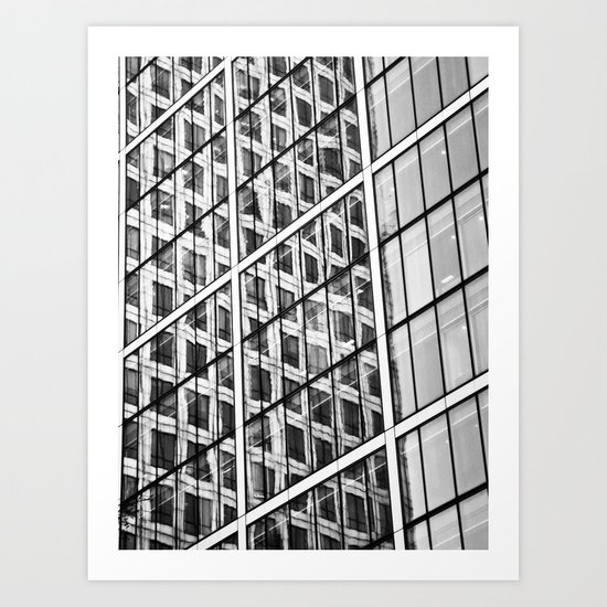 Canary Wharf Window Reflections Art Print