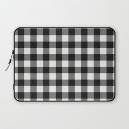 Black and White Country Buffalo check with digital canvas texture Laptop Sleeve