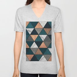 Copper, Marble and Concrete Triangles 2 with Blue Unisex V-Neck