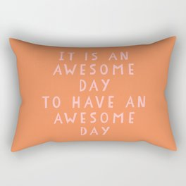Uplifting Awesome Day Design in Pink and Orange Rectangular Pillow