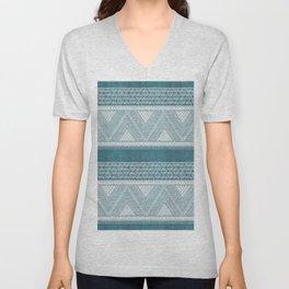 Dutch Wax Tribal Print in Teal Unisex V-Neck