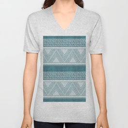 Dutch Wax Tribal Print in Teal Unisex V-Neck