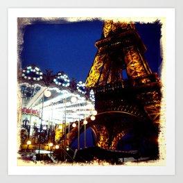 Eiffel Carosel Art Print