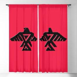 Thunderbird, Emblem of the Anishinaabe people - Black on Red Blackout Curtain