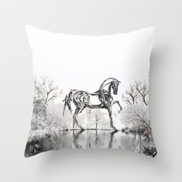 Snowy Horse Throw Pillow